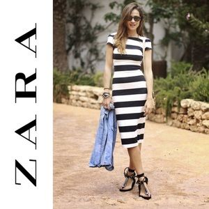 ZARA Maxi Dress Black + White Striped Plunge Back